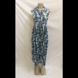 Jane Ashley Sz Med Floral Print Denim Shirt Dress